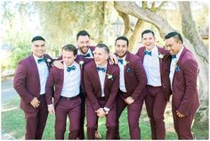Groom and Groomsmen portraits   Maroon suits & floral blue bow ties   Wedding at the Steele Canyon Golf Club