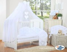LUXURY & ABSOLUTE BEAUTIFUL with embroidered heart white baby bedding set for your little one cot bed or cot (includes: cover x 2, bumper made of 3 pcs, big mosquito net / canopy / drape made of chiffon to cover all 4 sides of the bed, decorative bow & hearts) + drape holder (fits most types of cots and cot beds with ends/heads up to 4cm thick) by MY SWEET BABY, http://www.amazon.co.uk/dp/B00H6QBGZ4/ref=cm_sw_r_pi_dp_yCUTsb04KV4G3