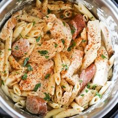 This Instant Pot Pasta Cajun Chicken Alfredo is packed with flavor, and so easy to make! Cajun seasoned chicken breast and smoked sausage, in a homemade alfredo sauce cooked up in a snap in the Instant Pot. Cajun Recipes, Easy Chicken Recipes, Pasta Recipes, Salad Recipes, Meat Recipes, Instant Pot Pasta Recipe, Instant Pot Dinner Recipes, Pot Recipe, Instant Recipes