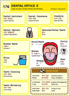 176 Learn Korean Hangul- Dental Office 2 Semel Elliott Venn now you can learn korean too! Korean Words Learning, Korean Language Learning, How To Speak Korean, Learn Korean, Dental Works, Korean English, Learn Hangul, Korean Phrases, Korean Lessons