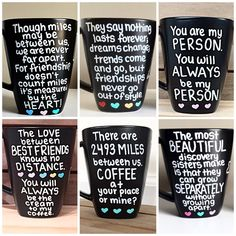 These black matte long distance mugs make a great gift for loved ones living far away! Perfect for long distance relationships, distant family members, and friends from college. These mugs can be customized to say whatever you like with connected states/provinces/countries of your choosing. QUOTE OPTIONS: Quote 1: Best friends forever never apart maybe in distance but never at heart Quote 2: Distance means so little when someone means so much Quote 3: True friendship isnt about be...