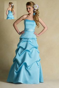 Sweetheart Strapless Ball Gown Ruched Sky Blue Bridesmaid Dresses