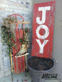 Easy JOY Barn Wood Sign for Christmas