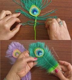 ¡Buenos días! 😃 ¿Ya tejieron su pluma de Pavo real a crochet y macramé? 🤔 Les dejamos un resumen del paso a - craftIdea.org