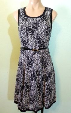 f0c958d7b8183 Ann Taylor LOFT Womens Dress size 2 Black White Lace Belted Fit and Flare   LOFT  SheathDress  AnyOccasion