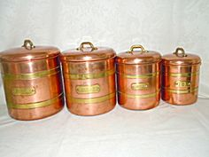 Mid Century Brass And Copper Canister Complete Set
