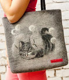 "SALE! Felted Bag Handbag Purse Felt Nunofelt Nuno felt  Eco handmadered bag Fiber Art  grey bag a gift for woman "" Sleep in a dandelions """