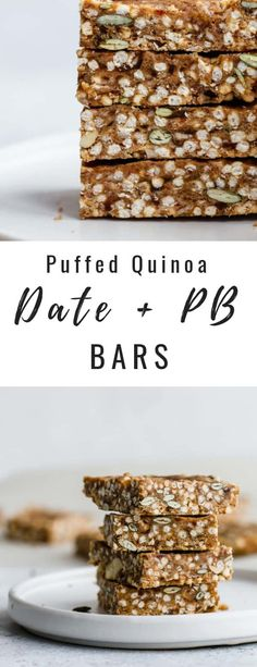 These puffed quinoa, date & peanut butter bars are a healthy snack packed with ingredients to give you long-lasting energy!
