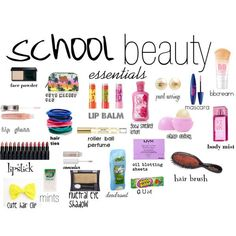 """school beauty essentials"" by haley516f on Polyvore - bags, messenger, kate spade, ysl, prada, chloe bag *ad"