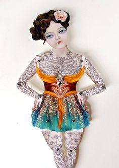 'Victorian Tattooed Gal Paper Puppet Doll' via CrankBunny on Etsy.