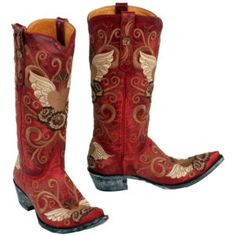 Old Gringo boots, I did rock red boots when I was a little gal...thay say fashion repeats itself right?!