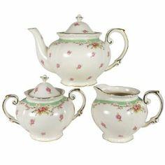 Stash Coastline Imports Green Vintage Rose Teapot, Creamer and Sugar Set : Best Sellers