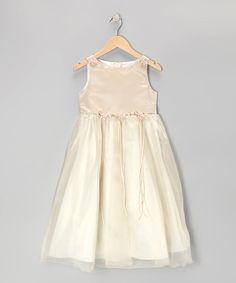 This Champagne Satin Organza Dress - Toddler & Girls by Kid's Dream is perfect! #zulilyfinds