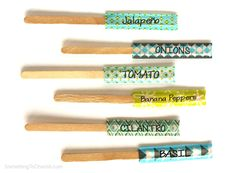Washi Tape Garden Plant Markers - Something to Cherish® - artwork, fashion, gift + home accessories created by illustrator Cherish Flieder Garden Labels, Plant Labels, Washi Tape Diy, Masking Tape, Diy Crafts Instructions, Tapas, Garden Plant Markers, How To Make Labels, Ugly To Pretty