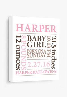 Add a modern touch to your nursery with this baby birth print. In Pink/Brown as shown. Other colors in our shop. Complete all the personalization info before adding to your shopping cart. Your print w