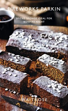 Fireworks parkin Parkin is a traditional English cake and dark in colour from the rich treacle. Sprinkled with crunchy stars, this gingered sponge is ideal to bake for Bonfire Night. Tap for the full Waitrose & Partners recipe. Sweet Desserts, Sweet Recipes, Delicious Desserts, Cake Recipes, Dessert Recipes, English Desserts, Parkin Cake Recipe, Parkin Recipes, English Cake Recipe