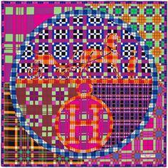 «Ex-Libris à Carreaux», Carré 90x90 cm en twill de soie. Dessin: Anamorphée. Jouez avec votre carré Hermès grâce à l'application Silk Knots! hermes.com/silkknots #Hermes #Silk #SilkKnots