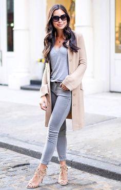 grey // camel // grey jeans // grey tee // camel cardigan