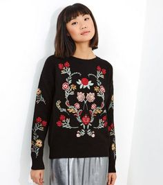 Black Embroidered Long Sleeve Jumper  | New Look