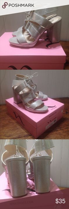 "NWT Nina  metallic heels size 7.5 NWT Nina  metallic heels size 7.5, metallic upper fabric, leather soles, 4"" block heels, sling back strap with laces cushioned insoles , New in box Nina Shoes Heels"