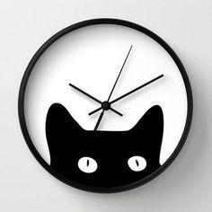 Black Cat Wall Clock by goodsense 3d Laser Printer, Wood Slice Crafts, Cat Clock, Clock Wall, Wood Clocks, Cat Wall, Dot And Bo, String Art, Fused Glass
