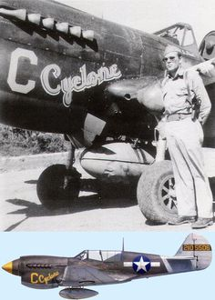 """This Emmett S. Davis, CO of the 35th FS, 8th FG, and his P-40N-5 , at Tsili Tsili, New Guinea, January 1944. Davis earned the nickname """"Cyclone"""" during 1941 while stationed in Hawaii, where his peers considered him the hottest Army pilot among them. In the summer of 1943, as recently appointed CO of the 35th FS, 8th FG, Davis engineered the conversion of his unit from P-39s to new P-40Ns, claiming 42 as his own. He scored his first victory on 27 September 1943 and two more on 26 December 194..."""