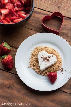 Healthy & Simple Valentine's Day Dessert with Greek yogurt, chocolate, graham crackers, and strawberries.