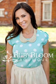 http://ruby-bloomboutique.com Fashion Peter Pan Collar Polka Dots