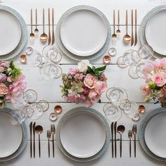 casadeperrin: Setting up for a beautiful Mother's Day weekend. Happy happy to all the amazing mamas out there!! With our Dusty Blue Lace Chargers Heath Ceramics in Opaque White Moon Flatware in Rose Gold 24k Gold Rimmed Stemware White Enamel/Copper Salt Cellars Tiny Copper Spoons #cdp3x3 #