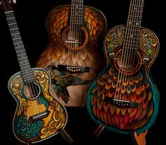 Handmade Acoustic Guitars by custom guitar builder Jay Lichty, artwork by Clark Hipolito