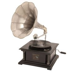 Sinclair Gramophone - This working wooden  gramophone inspires old-fashioned dancing and antique-inspired vignettes.