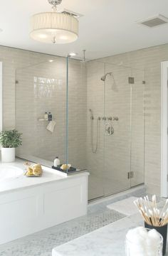 Bathroom remodel --Like how the ledge of the tub becomes a bench in the shower. (Murphy Brothers Contracting, NY)