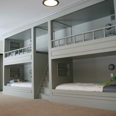 Unusual Grey Custom Wooden Bunk Beds with Built in Beds Design and Ceiling Lights in Small Bedroom Decors