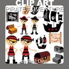 Pirate themed clip art with pirate boys, ship, map, and treasure box. You will get 14 graphics.  Image Size (pls see pic with numbers) no. 1: appro...