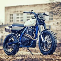 dropmoto: Estonia does it again. @renardspeedshops Honda NX650...  dropmoto:  Estonia does it again. @renardspeedshops Honda NX650 scrambler inducing some serious panty dropping with that laser blue frame. Good on ya boys. #dropmoto #honda #nx650 #dominator #tracker #scrambler #streettracker #builtnotbought