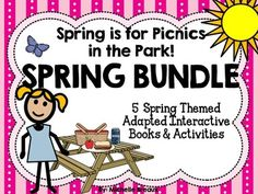 Celebrate and enjoy learning about Spring, Parks, Flowers, and Picnics all month long with this 5 book adapted interactive book bundle. These books are bundled together for savings! over 100 pages of interactive books, games, journals,  worksheets, emergent readers, and word cards, geared toward Early Childhood, Pre-K, K, 1, Special Education, Autism, and SLP.