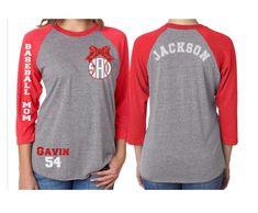 Glitter Baseball Mom Monogram Raglan Shirt| Baseball Mom Monogram Shirt