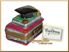 Graduation Cap on Stack of Books Limoges Box - Beauchamp.