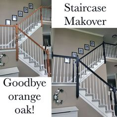 """Thank you General Finishes for creating such an amazing line of professional products! This stunning staircase makeover was created using GF Milk Paint in Lamp Black, for a smooth as silk brush mark Painted Stair Railings, Black Stair Railing, Black Staircase, Stair Banister, Painted Staircases, Staircase Design, Staircase Diy, Banisters, Railings For Stairs"