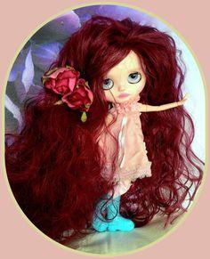 "Ultra long Blythe doll red wig* handmade* wavy* for 10"" headed bald doll*"