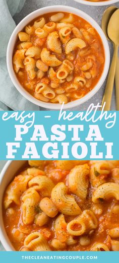 This Healthy Vegan Pasta Fagioli soup is packed with protein and so cozy. It's the perfect nutritious, veggie packed winter dinner anyone will love! You can make it in the instant pot, crockpot, or on the stovetop. Better than olive garden's and gluten free! #vegan #soup #pastafagioli #healthysoup Easy Clean Eating Recipes, Healthy Pasta Recipes, Healthy Pastas, Healthy Meal Prep, Lunch Recipes, Whole Food Recipes, Vegetarian Recipes, Dinner Recipes, Vegetarian Pasta Fagioli Recipe