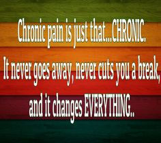 Chronic Pain never goes away.  Had a flare up today!!!!!!!!!!!!