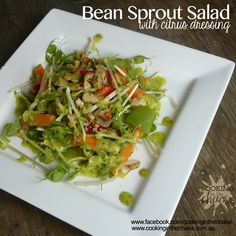 Bean Sprout Salad with Citrus Dressing - Thermomix Recipe - Cooking in the Choas Bean Sprout Salad, Sprouts Salad, Bean Sprouts, Green Peas, Easy Salad Recipes, Coleslaw, Mayonnaise, Seaweed Salad, Coriander