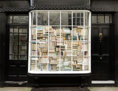 This book store in Woburn, London showcases how retail signage might not be needed if your shop windows are this indicative of the products within.