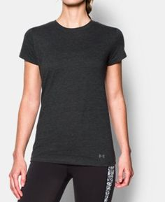 Under Armour Ua Favorite Short Sleeve Crew In Black Yoga Capris, Yoga Tops, Workout Shirts, Under Armour, Ua, T Shirts For Women, My Style, Mens Tops, Sleeve