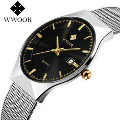 17.99$  Buy now - http://ali380.shopchina.info/go.php?t=32792049464 - relogio masculino WWOOR Luxury Brand Ultra Thin Wrist watches Stainless Steel Silver Mesh Band quartz watch fashion male clock  #buyonlinewebsite