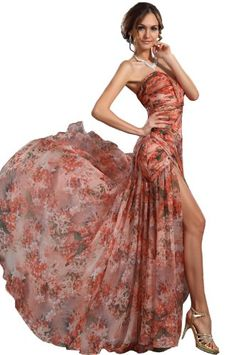 Sale eDressit New Floral Strapless High Slit Evening Dress (00120568)