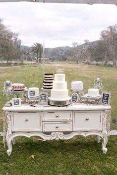 Elegant Wedding In A Field (Wedding Chicks) Vintage Wedding Cake Table, Wedding Cake Display, Wedding Table, Wedding Vintage, Vintage Weddings, Lace Weddings, Elegant Wedding, Rustic Wedding, Dream Wedding