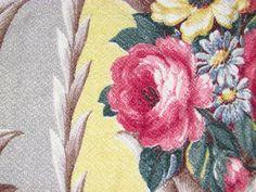 Sweet RARE Creamy Yellow Glen Court 30's ROYALTY Vintage Barkcloth Fabric Panel | eBay
