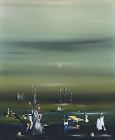 Yves Tanguy (French, Time and Again, Oil on canvas, 100 x 81 cm. Peggy Guggenheim, Yves Tanguy, Illusion, Arte Online, Rene Magritte, Digital Museum, Surrealism Painting, Collaborative Art, Weird Pictures